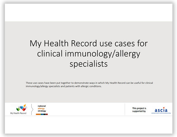 My Health Record use cases for clinical immunology allergy specialists