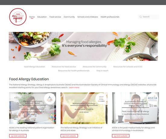 Food allergy aware website