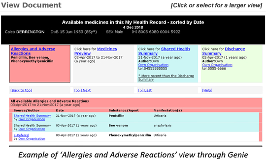 Example of 'Allergies and Adverse Reactions' view through Genie
